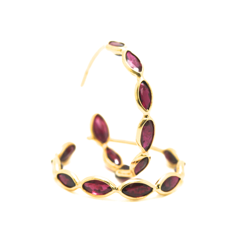 Ruby Oval Hoop Earrings In 18K Yellow Gold