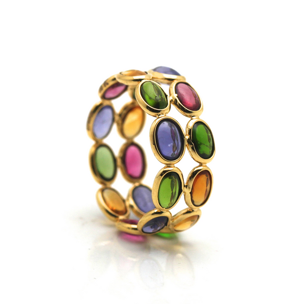 Multicolor Tourmaline Double Row Ring in 18k Yellow Gold