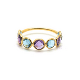 Gemstone Stackable Round Faceted Ring in 18k Yellow Gold