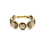 London Blue Topaz Stackable Ring Band in 18k Yellow Gold