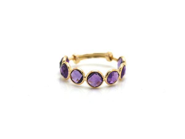Amethsyt Gemstone Ring Band in 18k Yellow Gold