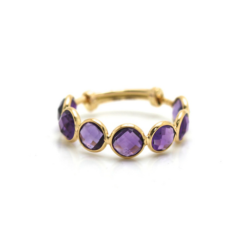 Amethyst Stackable Ring Bands With Adjustable Shank In 18K Yellow Gold