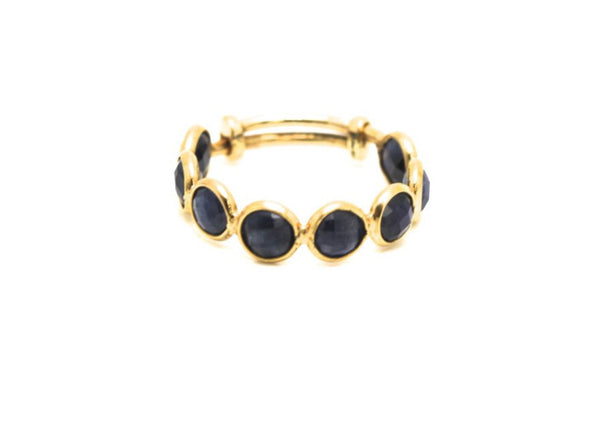 Blue Sapphire Stackable Ring Bands With Adjustable Shank In 18K Yellow Gold