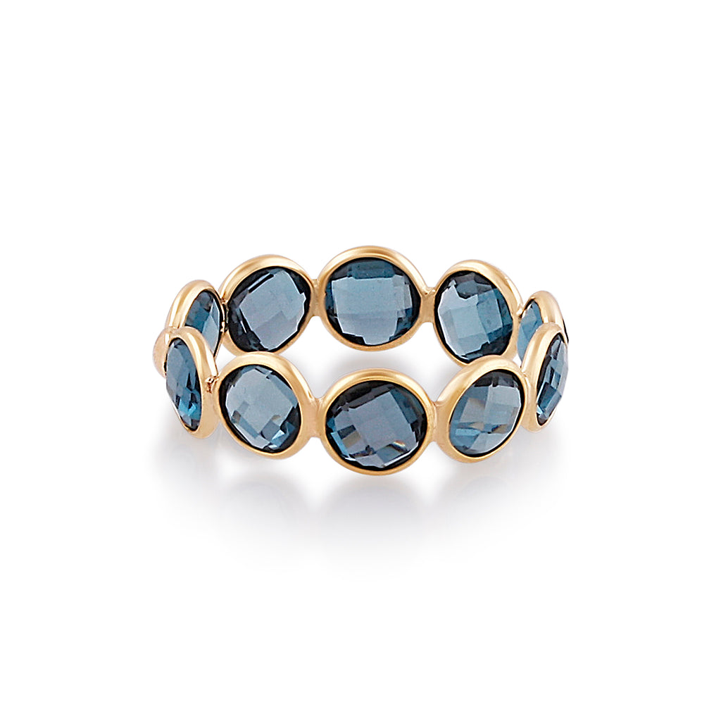 London Blue Topaz Stackable Ring Bands With Adjustable Shank In 18K Yellow Gold