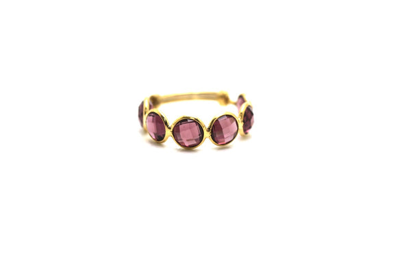 Rhodolite Stackable Ring Bands With Adjustable Shank In 18K Yellow Gold