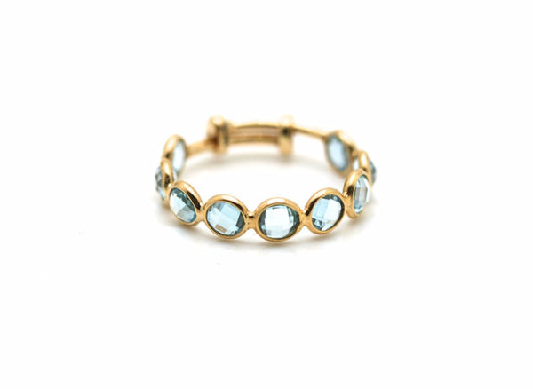 Blue Topaz Stackable Ring Bands With Adjustable Shank In 18K Yellow Gold