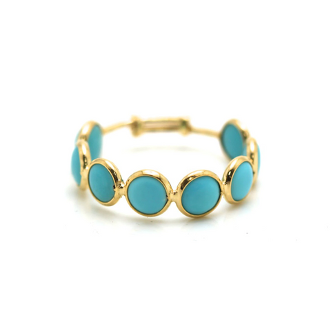 Gemstone Stackable Round Cabochon Adjustable Ring in 18k Yellow Gold