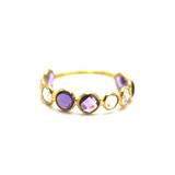 Amethyst and Rainbow Moonstone Ring in 18k Yellow Gold