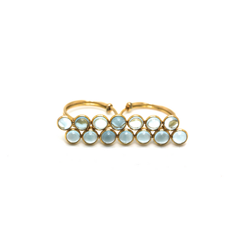 Blue Topaz Double Finger Ring In 18k Yellow Gold