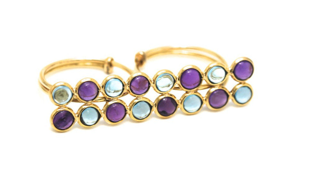 Blue Topaz & Amethyst Double Finger Ring In 18k Yellow Gold