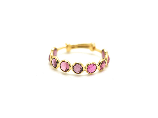 Pink Tourmaline Stackable Ring Band in 18k Yellow Gold