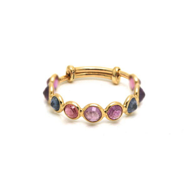 Gemstone Stackable Round Ring Band with Adjustable Shank in 18k Yellow Gold