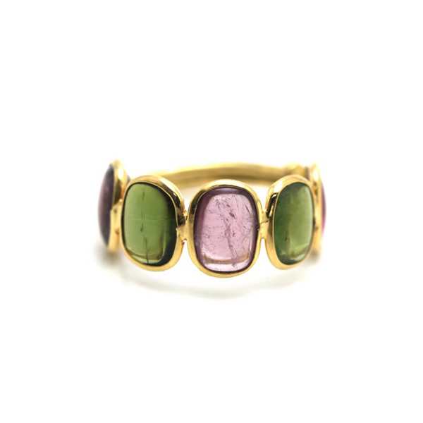 Multicolor Stone Stackable Ring Band In 18k Yellow Gold