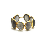 Labradorite Stackable Ring Bands In 18K Yellow Gold