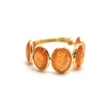 Mandarine Garnet Oval Stackable Ring Bands With Adjustable Shank In 18K Yellow Gold