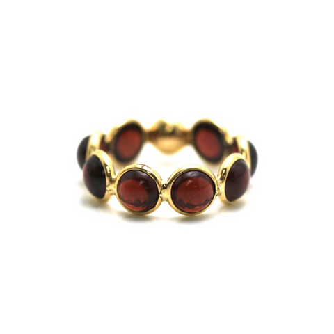 Garnet Stackable Ring Bands In 18K Yellow Gold