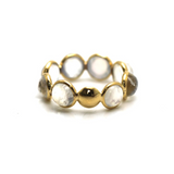 Gemstone Eternity Round Cabochon Ring Band in 18K Yellow Gold