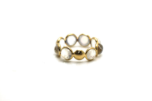 Rainbow Moonstone Stackable Ring Bands In 18K Yellow Gold