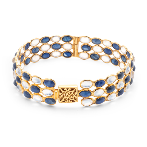Blue Sapphire and Rainbow Moonstone Triple Row Bangle Bracelet set in 18k Yellow Gold