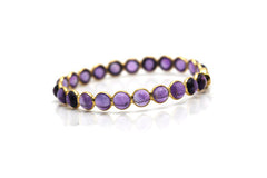 Amethyst Round Cab Bangle In 18K Gold YG
