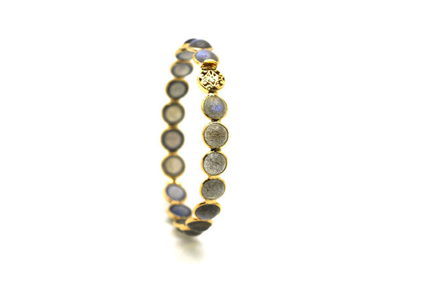 Labradorite Round Cab Bangle In 18K YG