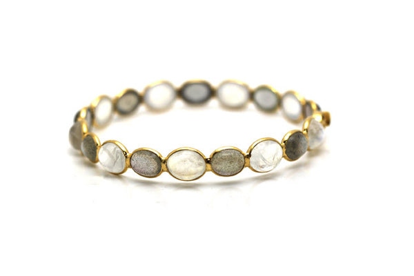 Rainbow Moonstone and Labradorite Bangle In 18K Gold YG