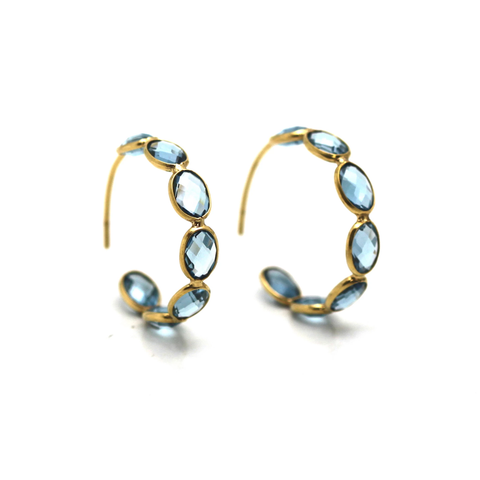 London Blue Topaz Hoop Earring in 18k Yellow Gold