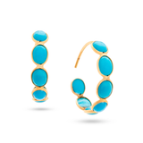 Gemstone Small Oval Hoop Earrings in 18k Yellow Gold