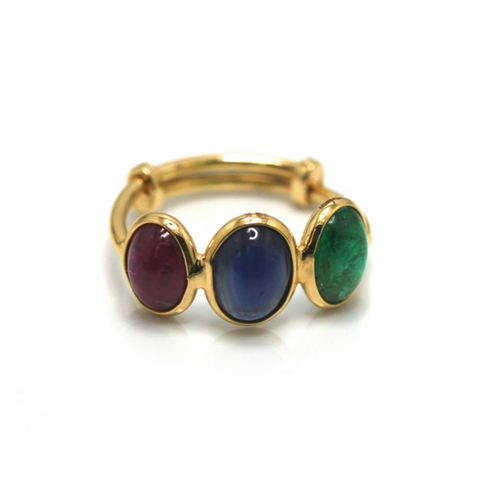 Gemstone Stackable Ring Bands in 18K Yellow Gold