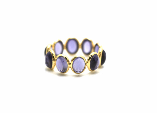 Iolite Stackable Ring Bands in 18K Yellow Gold