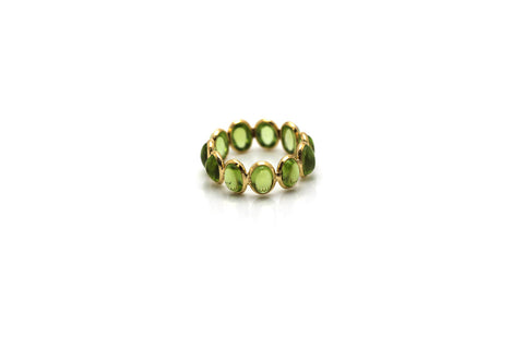 Peridot Stackable Ring Bands In 18k Yellow Gold
