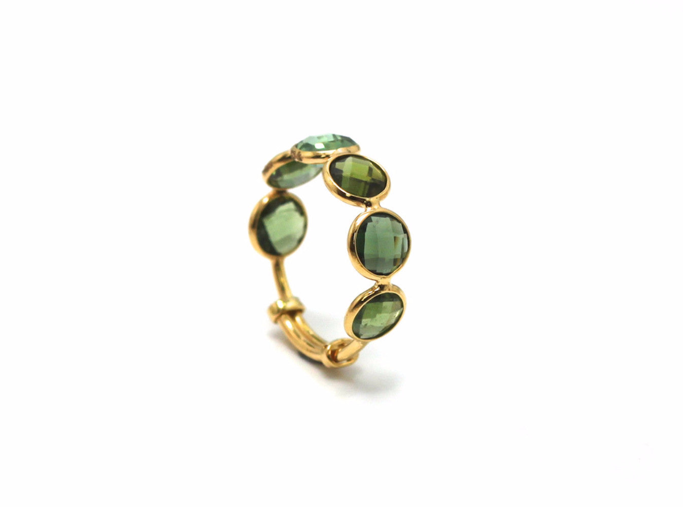 Green Tourmaline Ring Band in 18k Yellow Gold
