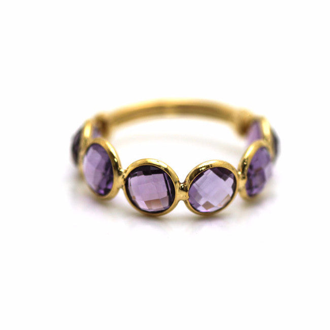 Amethyst Round Stackable Ring Band with Adjustable Shank in 18k Yellow Gold