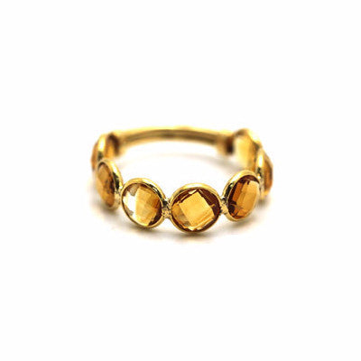 Citrine Round Stackable Ring Band with Adjustable Shank in 18k Yellow Gold
