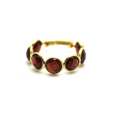 Garnet Round Stackable Ring Band with Adjustable Shank in 18k Yellow Gold