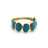 Gemstone Stackable Round Ring with Adjustable Shank in 18k Yellow Gold