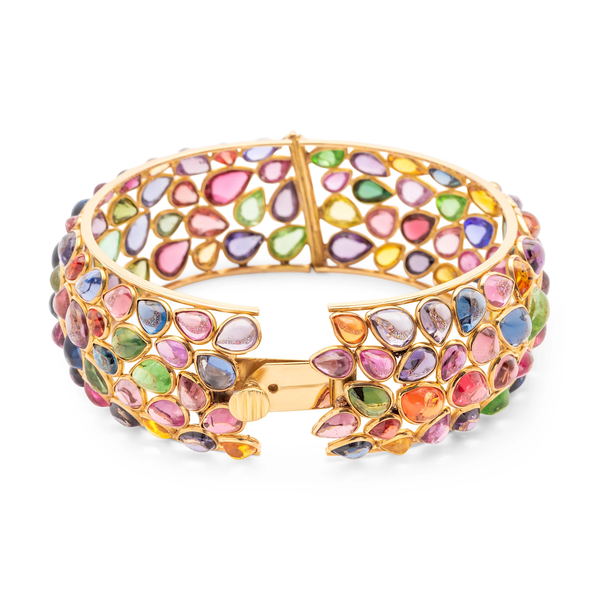 Multicolor Stones Bangle In 18K Yellow Gold