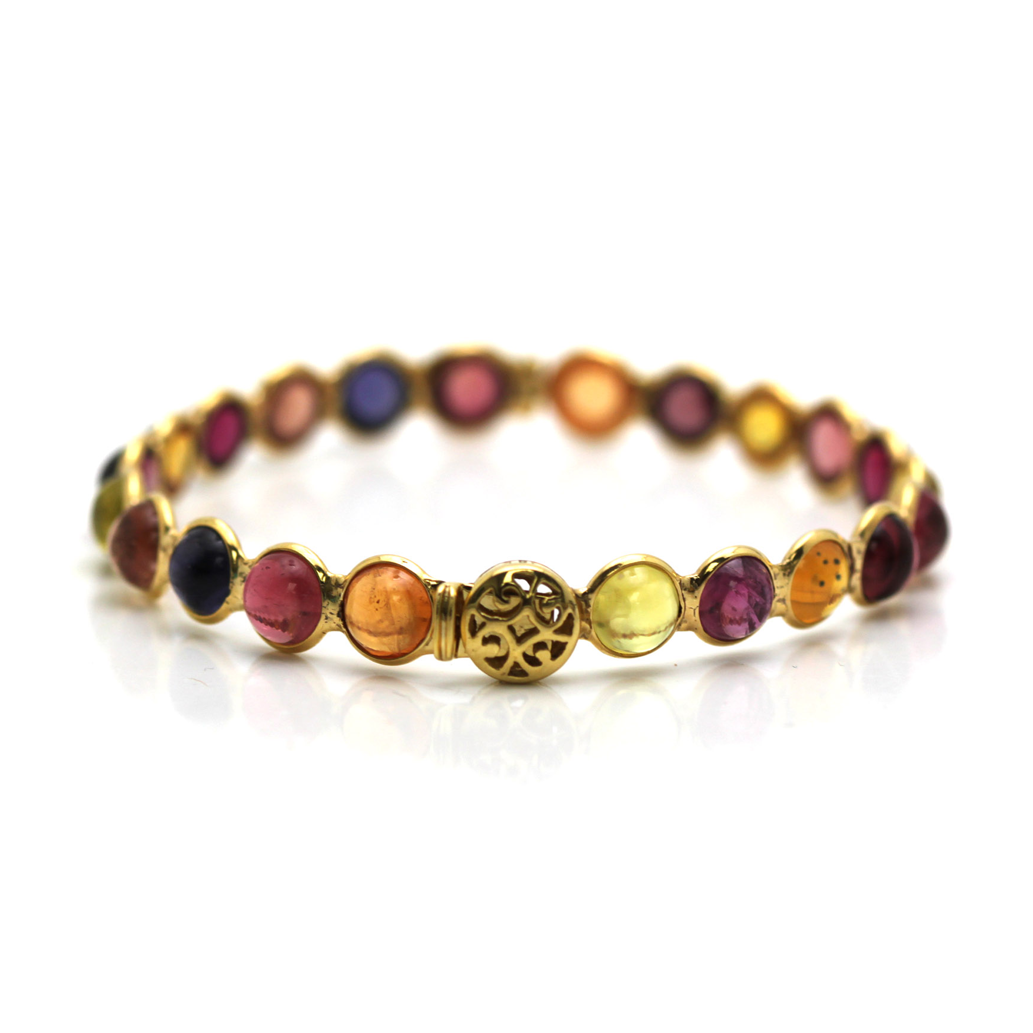 Multicolor Stones Round Cab Bangle in 18K YG