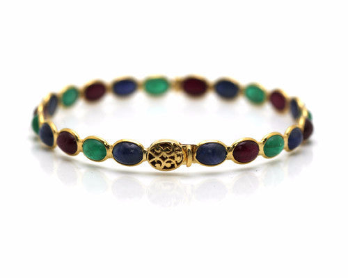 Emerald, Ruby & Sapphire Round Cab Bangle in 18K YG