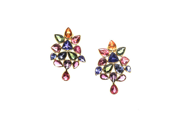 Multicolor Stone Earring In 18K Gold Yellow Gold