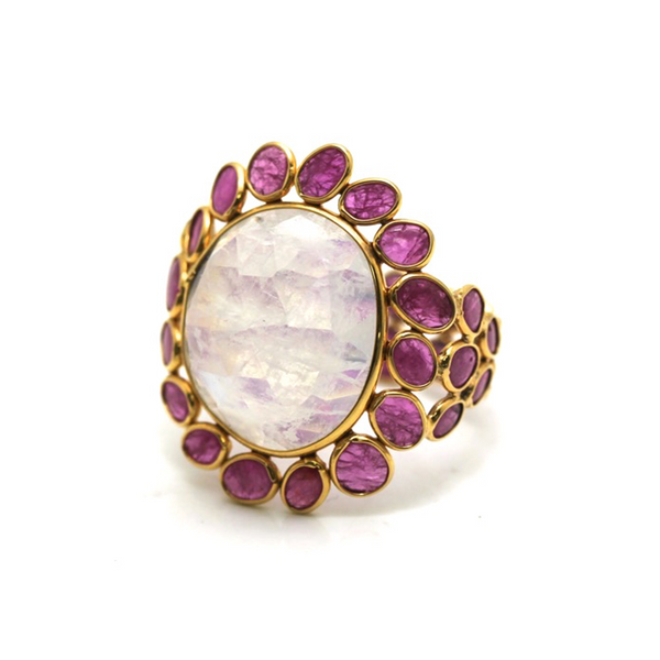 Ruby & Rainbow Moonstone Ring In 18K Yellow Gold