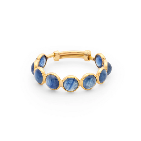 Blue Sapphire Round Stackable Ring Bands With Adjustable Shank In 18k Yellow Gold
