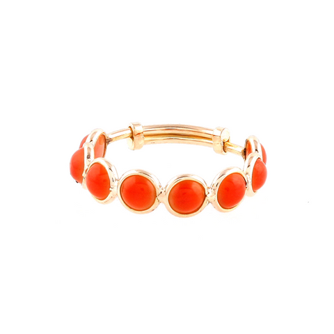 Coral Stackable Ring with adjustable shank in 18k Yellow Gold