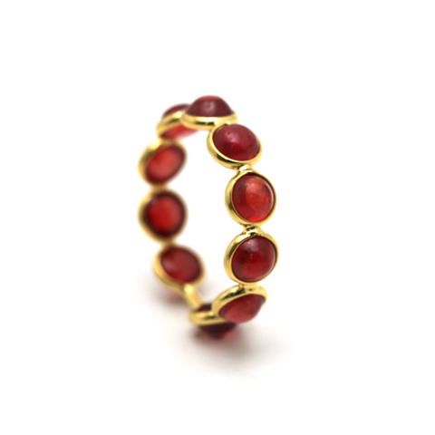 Gemstone Round Stackable Ring With Adjustable Shank In 18k Yellow Gold