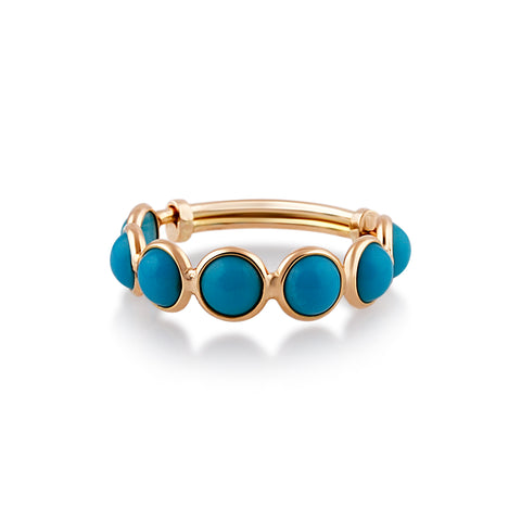 Turquoise Round Stackable Ring Bands With Adjustable Shank In 18k Yellow Gold