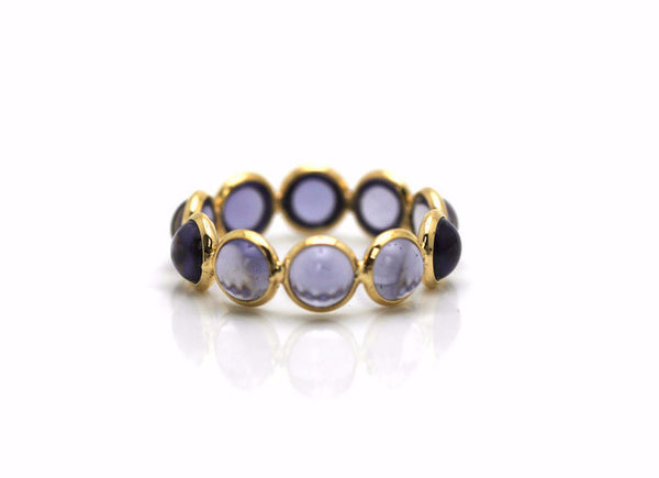 Iolite Smooth Oval Stackable Ring Bands In 18k Yellow Gold
