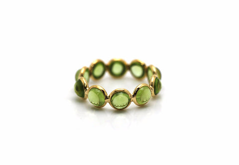 Peridot Round Stackable Ring Bands In 18k Yellow Gold