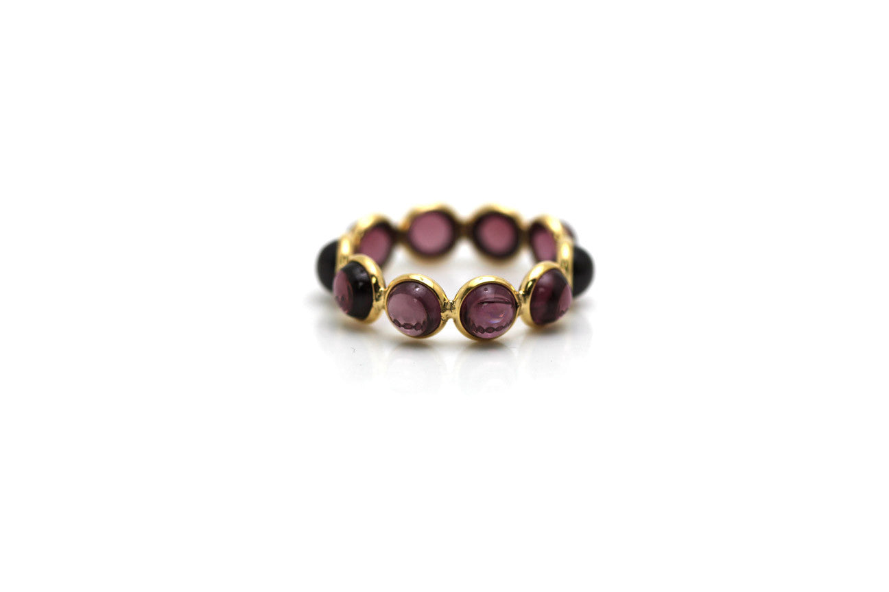 Rhodolite Round Stackable Ring Bands In 18k Yellow Gold