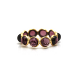 Pink Tourmaline Round Stackable Ring Bands With Adjustable Shank In 18k Yellow Gold