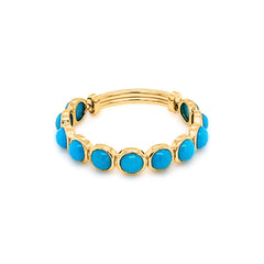 Turquoise Smooth Round Ring Band in 18k Yellow Gold